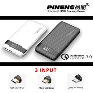 PINENG PN-961 10000mah High Density Li-On Polymer Battery Quick Charge 3.0 Power Bank (NEW) One To One Warranty